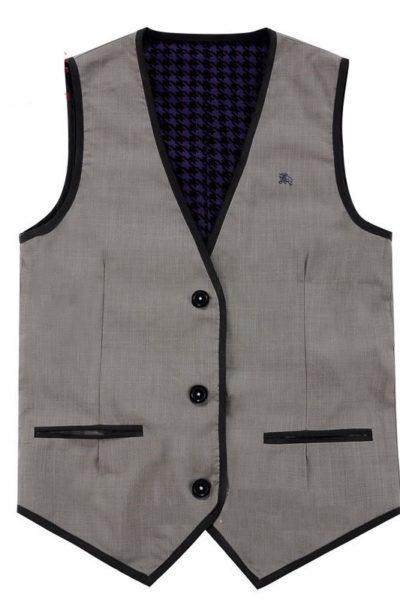 Đồng phục công sở – Áo ghi lê nam màu xám viền đen 31