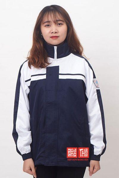 Đồng phục học sinh sinh viên – Áo khoác hoc sinh màu xanh đen phối trắng 23