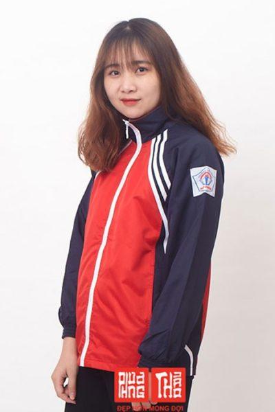 Đồng phục học sinh sinh viên – Áo khoác học sinh màu xanh đen phối đỏ viền trắng 25