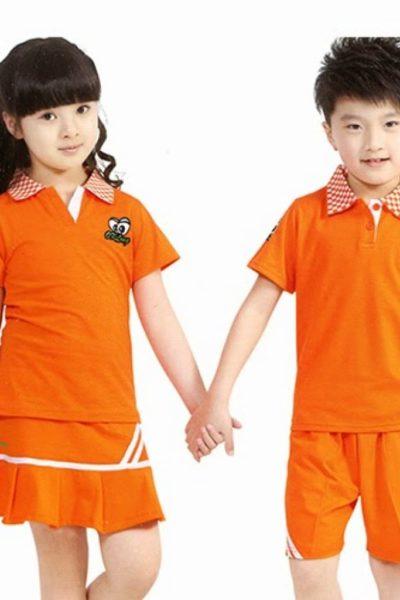 Đồng phục học sinh sinh viên – Đồng phục mầm non màu cam phối trắng 23