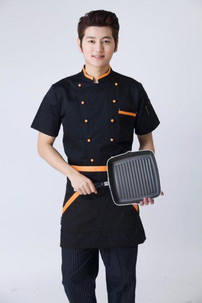 Đồng Phục Nhà Hàng Khách Sạn-Đồng Phục Bếp Màu Đen Phối Cam 93