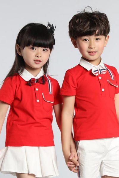Đồng phục học sinh sinh viên – Đồng phục mầm non áo thun cổ trụ đỏ phối trắng, váy quần trắng 19