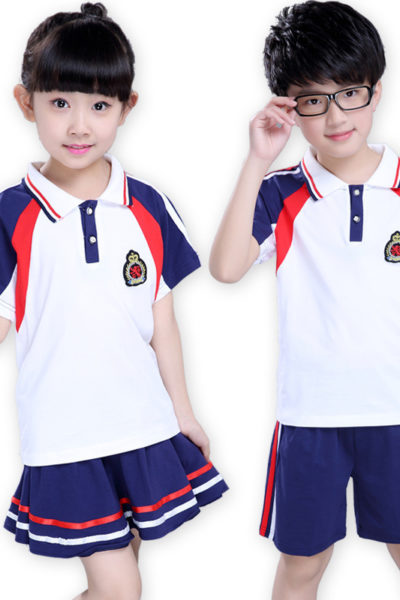Đồng phục học sinh sinh viên – Đồng phục mầm non áo thun cổ trụ trắng phối đỏ xanh, quần váy xanh phối đỏ trắng 17