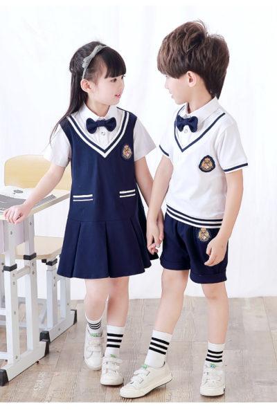 Đồng phục học sinh sinh viên – Đồng phục mầm non đầm xanh phối trắng, áo sơ mi trắng, quần xanh 15