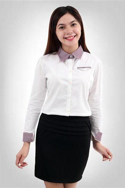 Đồng phục công sở – Áo sơ mi nữ dài tay màu trắng phối caro 106