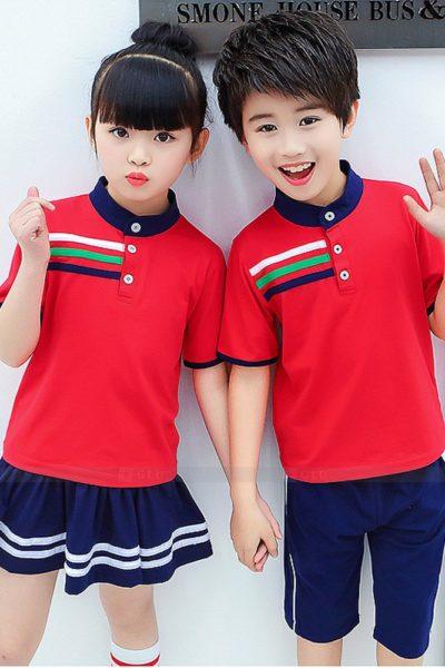 Đồng phục học sinh sinh viên – Đồng phục mầm non áo thun đỏ phối xanh, quần váy xanh phối trắng 28
