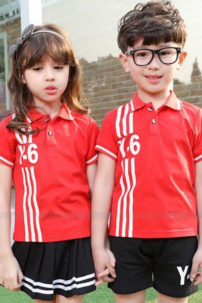 Đồng phục học sinh sinh viên – Đồng phục mầm non áo thun cổ trụ đỏ phối trắng, quần váy đen phối trắng 30