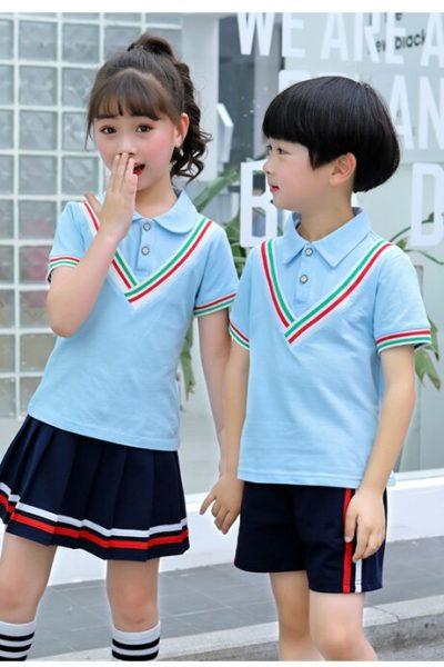 Đồng phục học sinh sinh viên – Đồng phục mầm non áo thun cổ trụ sọc xanh biển phối sọc, quần váy xanh đen phối sọc 37