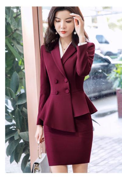 Đồng Phục Nhà Hàng Khách Sạn-Đồng Phục Quản Lý Váy Đỏ, Vest Đỏ 100