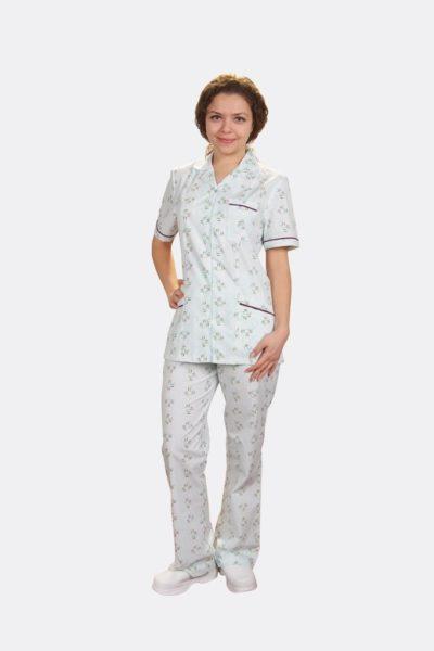 Đồng phục bệnh viện – Đồng phục bệnh nhân dài tay họa tiết màu trắng 25