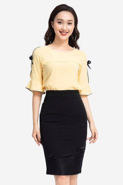 Đồng Phục Công Sở- Chân váy nữ màu đen phối ren 105