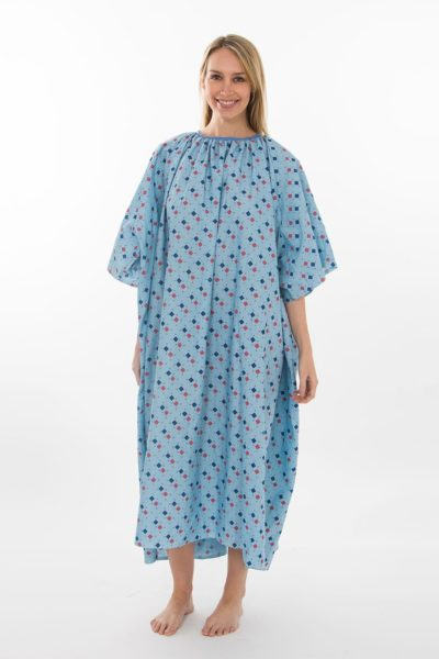 Đồng phục bệnh viện – Đồng phục bệnh nhân dài tay họa tiết xanh dương 32