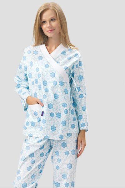 Đồng phục bệnh viện – Đồng phục bệnh nhân dài tay họa tiết màu xanh dương 46