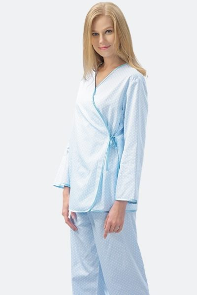 Đồng phục bệnh viện – Đồng phục bệnh nhân dài tay họa tiết xanh dương 48