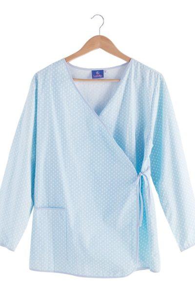 Đồng phục bệnh viện – Đồng phục bệnh nhân dài tay họa tiết xanh trắng 38
