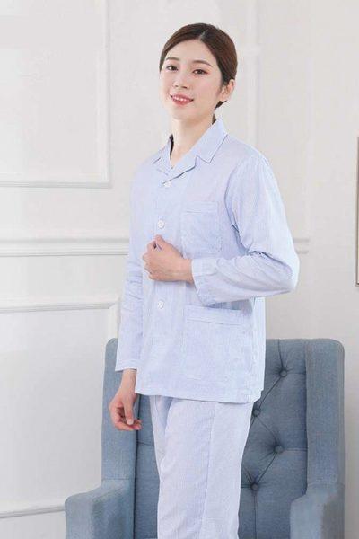 Đồng phục bệnh viện – Đồng phục bệnh nhân dài tay màu xanh nhạt 36