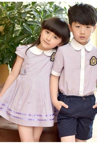 Đồng phục học sinh sinh viên – Đồng phục mầm non đầm xám phối trắng, áo sơ mi xám phối trắng, quần xanh đen 41
