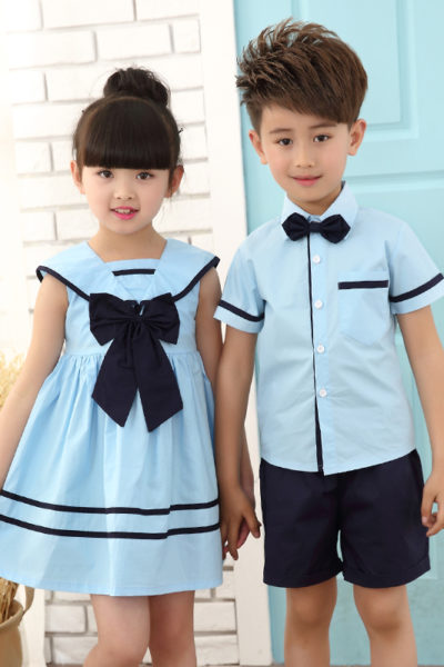 Đồng phục học sinh sinh viên – Đồng phục mầm non đầm xanh phối xanh đen, áo sơ mi xanh phối xanh đen,quần xanh đen 13