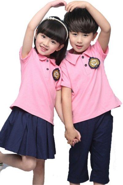 Đồng phục học sinh sinh viên – Đồng phục mầm non áo cổ trụ màu hồng, váy quần xanh đen 14