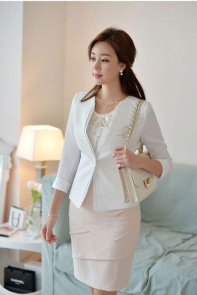 Đồng phục công sở – Áo vest nữ màu trắng 107