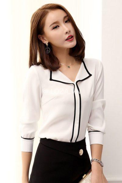 Đồng phục công sở – Áo sơ mi nữ tay dài màu trắng phối đen 108