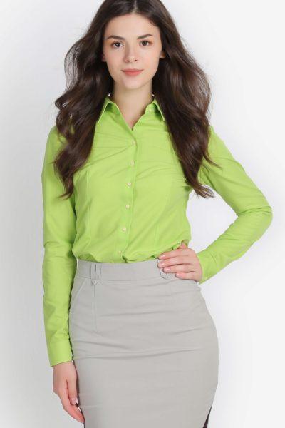Đồng phục công sở – Áo sơ mi nữ dài tay màu xanh lá mạ 100