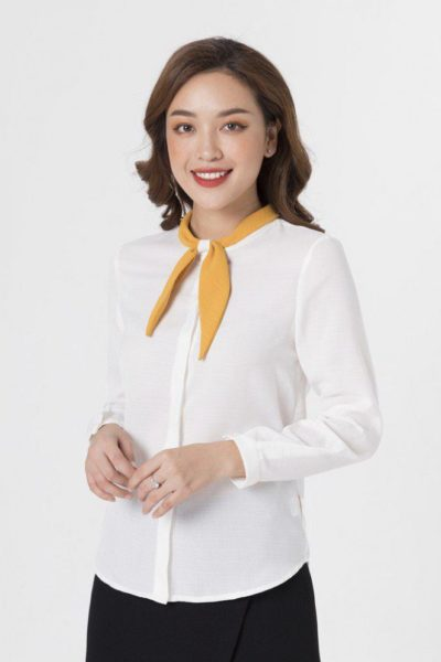 Đồng phục công sở – Áo sơ mi nữ dài tay màu trắng phối vàng 102