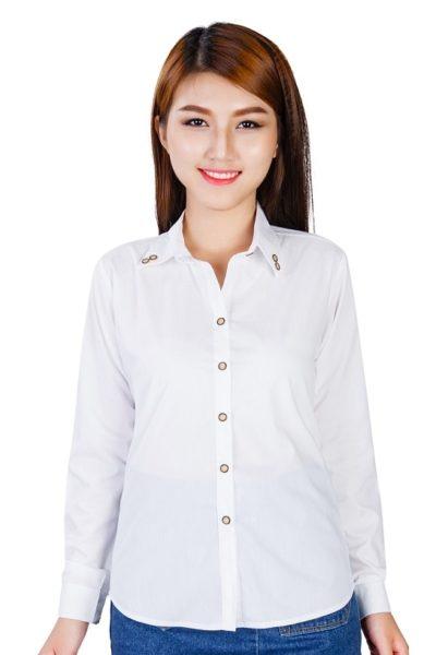 Đồng phục công sở – Áo sơ mi nữ dài tay màu trắng 99