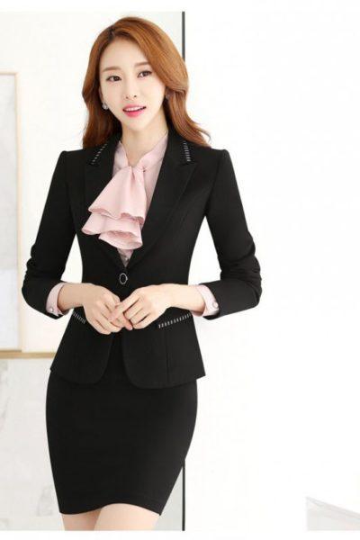 Đồng phục công sở – Áo vest nữ màu đen 108