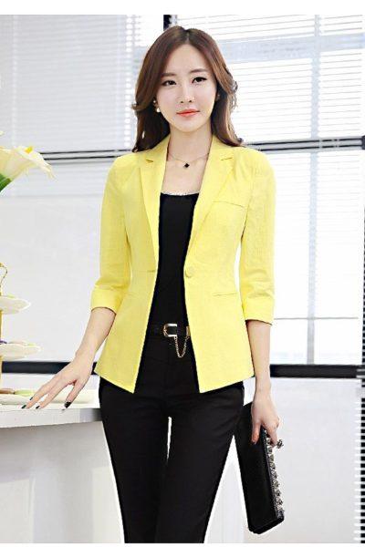 Đồng phục công sở – Áo vest nữ màu vàng 110