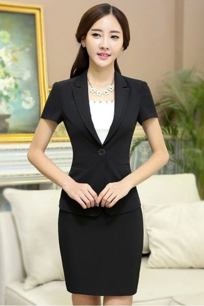 Đồng phục công sở – Áo vest nữ màu đen 111