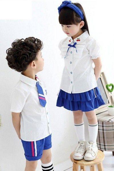 Đồng phục học sinh sinh viên – Đồng phục mầm non áo sơ mi trắng, quần váy xanh 24