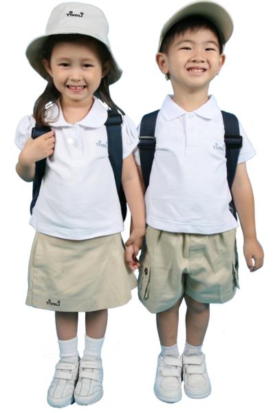 Đồng phục học sinh sinh viên – Đồng phục mầm non áo thun cổ trụ trắng, váy quần xám 12