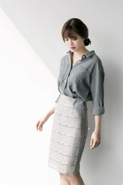 Đồng Phục Công Sở- Chân váy nữ màu xám phối ren 102