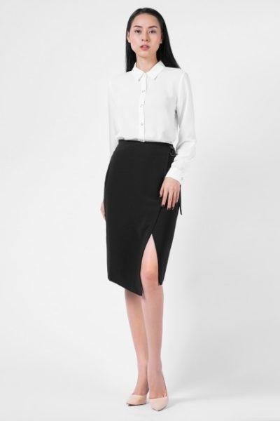 Đồng Phục Công Sở- Chân váy nữ xẻ màu đen 102