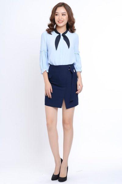Đồng phục công sở – Áo sơ mi nữ tay lửng màu xanh dương 103