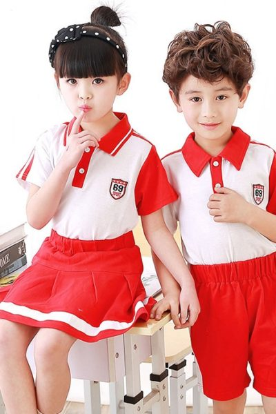 Đồng phục học sinh sinh viên – Đồng phục mầm non áo thun cổ trụ trắng phối đỏ, quần váy đỏ phối trắng 39