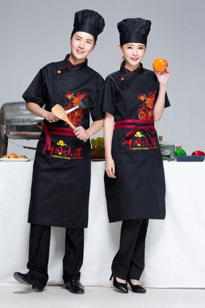 Đồng Phục Nhà Hàng Khách Sạn-Đồng Phục Bếp Màu Đen Phối Đỏ Có Họa Tiết 99
