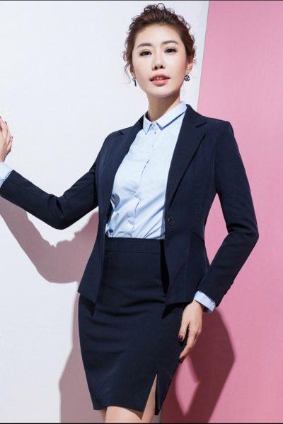 Đồng phục công sở – Áo vest nữ màu xanh đen 112