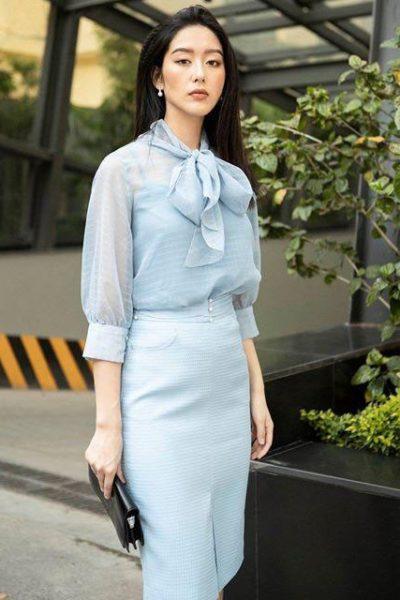 Đồng Phục Công Sở- Chân váy nữ màu xanh da trời 107