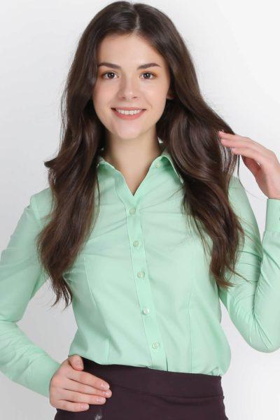 Đồng phục công sở – Áo sơ mi nữ dài tay màu xanh lá 104
