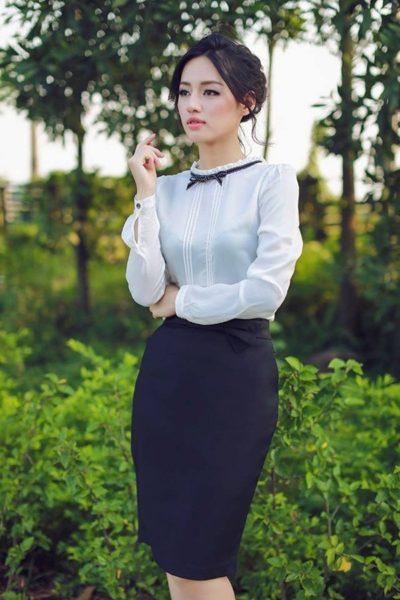 Đồng Phục Công Sở- Chân váy nữ màu xanh đen 110