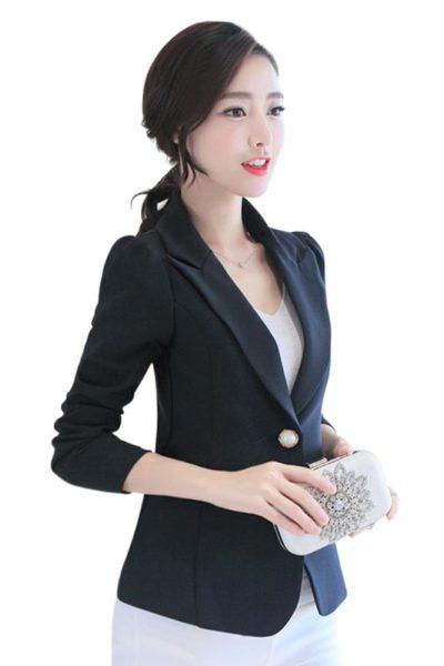 Đồng phục công sở – Áo vest nữ màu đen 115