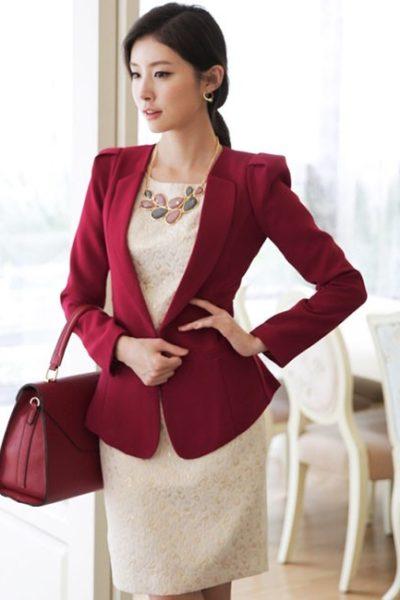 Đồng phục công sở – Áo vest nữ màu đỏ đô 113