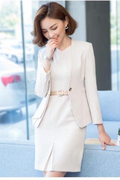 Đồng phục công sở – Áo vest nữ màu kem 114