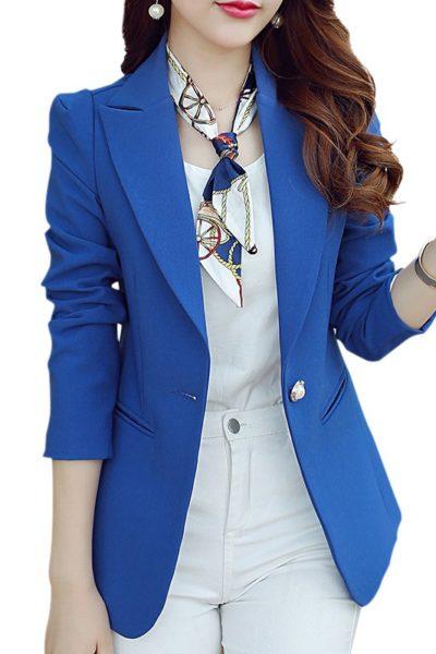 Đồng phục công sở – Áo vest nữ màu xanh dương 117