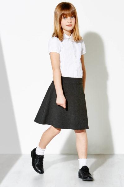 Đồng phục học sinh sinh viên – Đồng phục học sinh cấp II váy xám, áo sơ mi trắng ngắn bo tay 71
