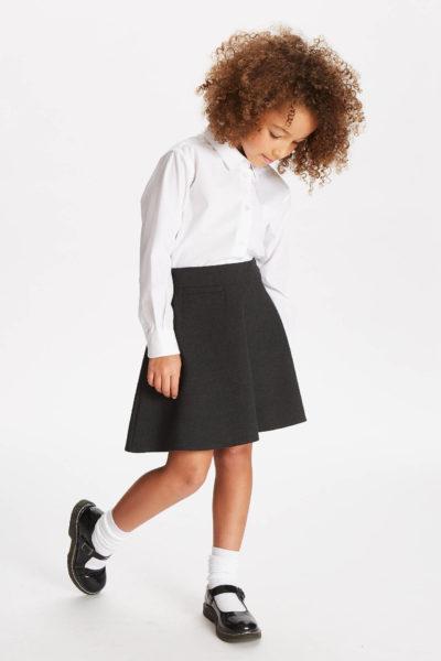 Đồng phục học sinh sinh viên – Đồng phục học sinh cấp II váy xám, ao sơ mi trắng dài tay 73