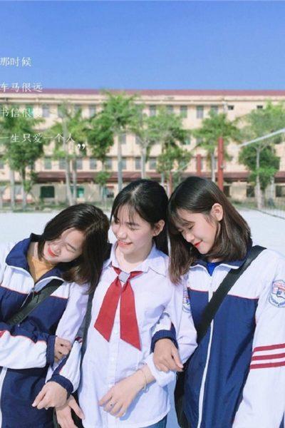 Đồng phục học sinh sinh viên – Áo khoác học sinh màu xanh dương phối trắng 39