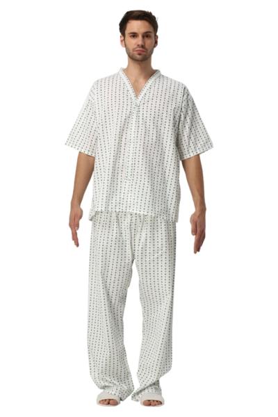 Đồng phục bệnh viện – Đồng phục bệnh nhân màu trắng họa tiết 68